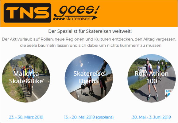 TNSgoes! Homepage update Termine 2019